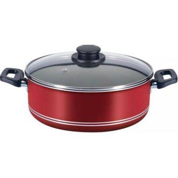 Budinera de 24 cm. Ekco Tendencias de 2 Piezas de Aluminio Color Rojo con Duraflon® de Alto Rendimiento y Tapa de Vidrio