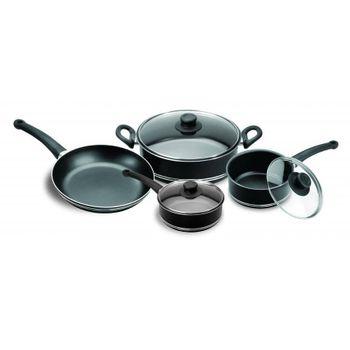 Batería de Cocina Premier Ekco Classic de 7 Piezas de Aluminio Color Negro con Duraflon® de Alto Rendimiento