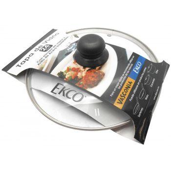 Tapa de vidrio de 24 cm. Con fajilla Ekco Classic de Vidrio Color Transparente con Tapa de Vidrio