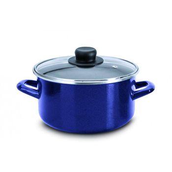 Olla Ekco Acero esmaltado Color Azul con Tapa de Vidrio de alta resistencia