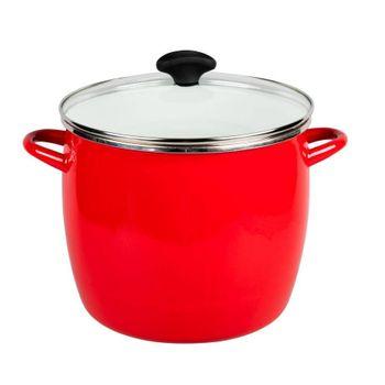 Olla profunda de 12 cuartos de galón Vasconia Viva colors de Vitroacero® Color Rojo con No se raya y su brillo perdura