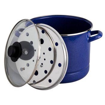 Vaporera de 8 cuartos de galón Ekco Acero esmaltado Color Azul de 3 Piezas con Tapa de Vidrio