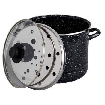 Vaporera de 8 cuartos de galón Ekco Acero esmaltado de 3 Piezas Negro con Tapa de Vidrio y un Brillo perdurable