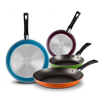 4 Pack de Sartenes Ekco Classic de 4 Piezas de Aluminio Color Varios colores con Duraflon® de Alto Rendimiento
