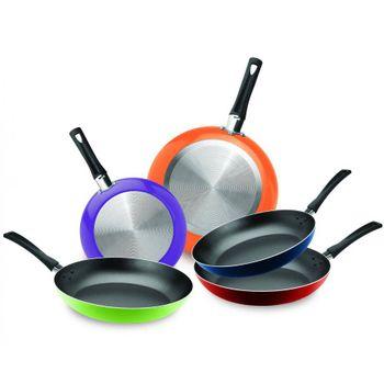 5 Pack de Sartenes Colors Ekco Classic de 5 Piezas de Aluminio de Varios Colores con Duraflon® de Alto Rendimiento