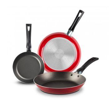 3 Pack de Sartenes Ekco Classic de 3 Piezas de Aluminio Color Rojo con Duraflon® de Alto Rendimiento