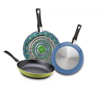 3 Pack de Sartenes Ekco Trendy de 3 Piezas de Aluminio Color Verde y azul con Duraflon® PLUS