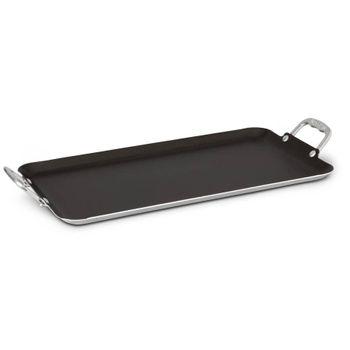 Plancha recta doble quemador Vasconia Básicos de Aluminio Color Gris con Duraflon® de Alto Rendimiento