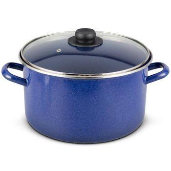 Olla recta de 26 cm. Vasconia Básicos de Acero con esmalte vitrificado Azul con Tapa de Vidrio y un brillo perdurable