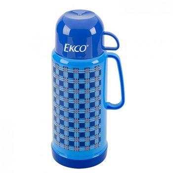 Termo escocés de 1 litro Ekco Classic de Ampolla de vidrio Color Azul con Tapa-taza y Tapa anti-derrames