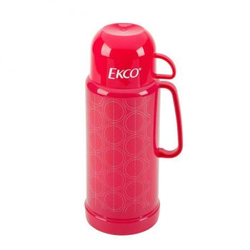 Termo círculos de 1 litro Ekco Classic de Ampolla de vidrio Color Rosa con Tapa-taza y Tapa anti-derrames
