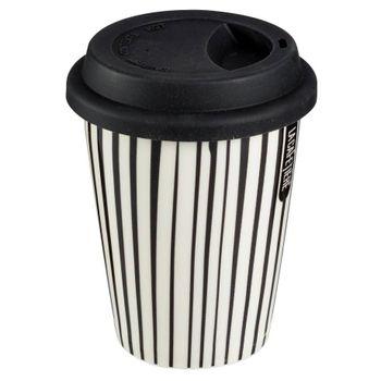 Termo de líneas Lacafetiere Color Crema y Negro