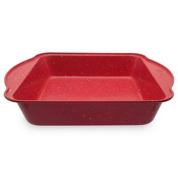Molde cuadrado spatter Vasconia Bakers advantages de Acero carbonizado Color Rojo moteado con Duraflon® Rustic Granite