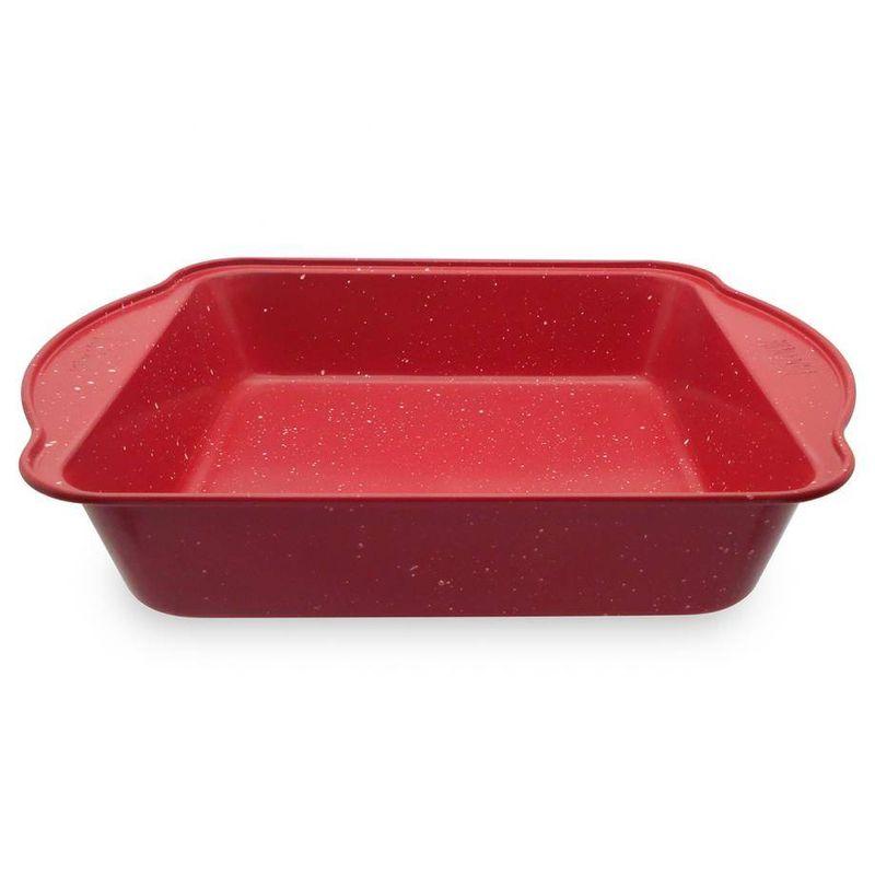 Molde-cuadrado-spatter-Vasconia-Bakers-advantages-de-Acero-carbonizado-Color-Rojo-moteado-con-Duraflon®-Rustic-Granite-tienda-en-linea-La-Vasconia