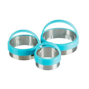 Set de cortadores Ekco Tendencias de 3 Piezas de Polipropileno Color Rosa y azul con Acabado Soft Touch