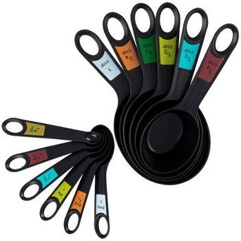 Set de medidores Farberware de 12 Piezas de Polipropileno Color Negro