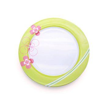 Plato de 25 cm. Ekco Trendy de Melamina Color Verde y rosa