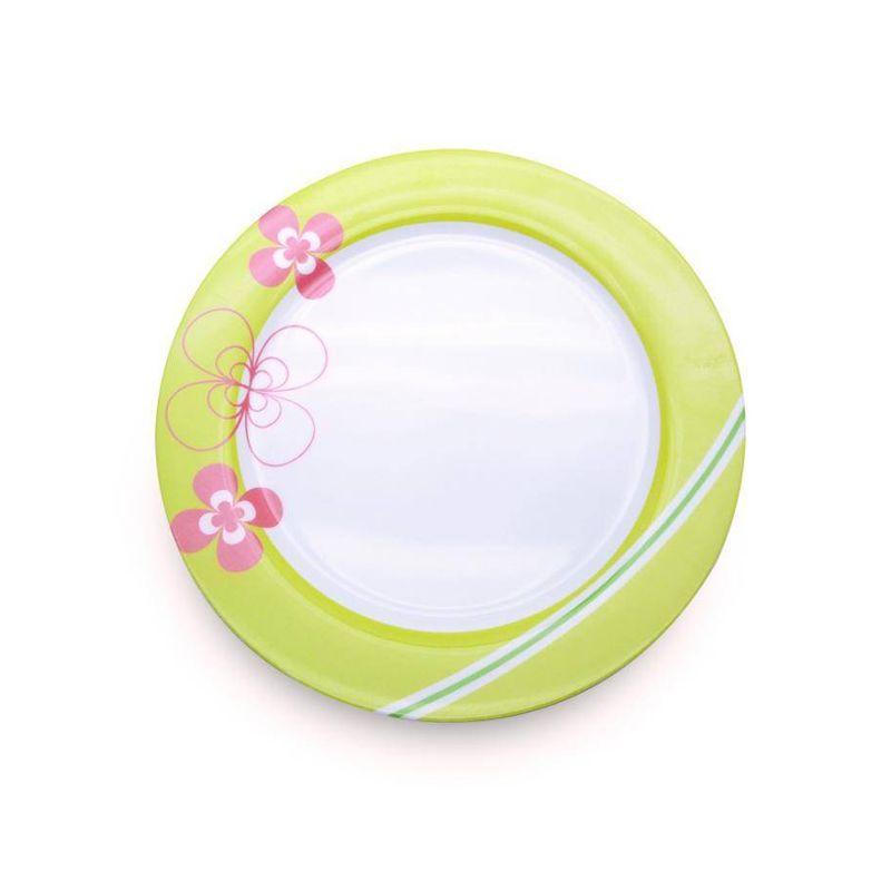 Plato-de-25-cm.-Ekco-Trendy-de-Melamina-Color-Verde-y-rosa-tienda-en-linea-La-Vasconia