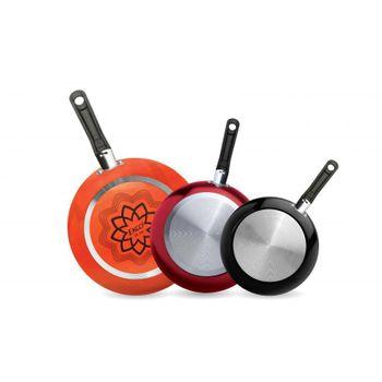 3 Pack de Sartenes Ekco Trendy de 3 Piezas de Aluminio Color Negro con Duraflon® de Alto Rendimiento