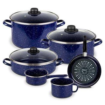 Batería de Cocina Victoria Ekco Acero esmaltado de 9 Piezas color Azul Marino de Brillo perdurable