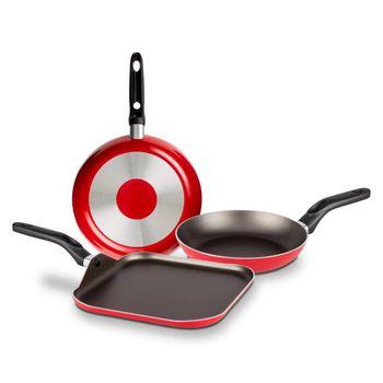 Pack de Cocina de Sartenes y plancha Ekco Classic de 3 Piezas de Aluminio Color Rojo con Duraflon® de Alto Rendimiento