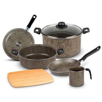 Batería de Cocina Graystone Ekco Progressive de 7 Piezas de Aluminio Color Stone obscuro marfil con Duraflon® STONE
