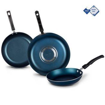 3 Pack de Sartenes Vasconia 360° Vasconia Básicos de 3 Piezas de Aluminio Color Azul con Teflon™ Classic Easy Clean