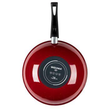 Wok de 28 cm Vasconia Master de Vitroacero® Color Rojo con Duraflon® PRO, Reforzado con Titanio