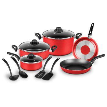 Batería de Cocina Ekco London de 12 piezas color Rojo con Antiadherente