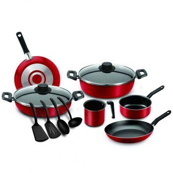Batería de Cocina Ekco Roja de 12 Piezas con Antiadherente