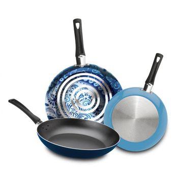 3 Pack de Sartenes Ekco Trendy Blue de Aluminio con Duraflon®