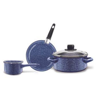 Batería de cocina 4 piezas moteada azul