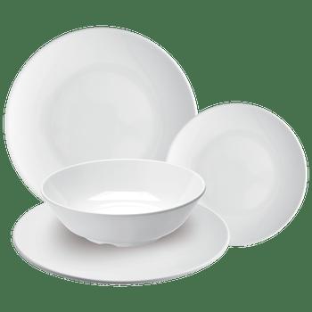 Vajilla de 100% Melamina Fina set de 16 piezas blanco