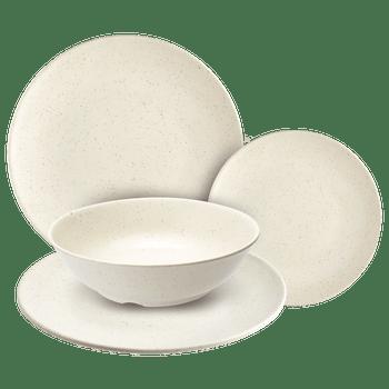 Vajilla de 100% Melamina Fina set de 16 piezas beige