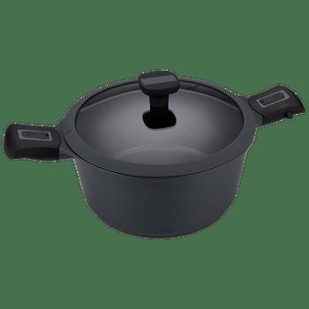 Olla Alta 24 cm de (4.3 Lts)  Vasconia Regal color Negro hecha de Aluminio