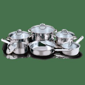 Batería de Cocina Vasconia Esencial de 12 Piezas de Acero Inoxidable