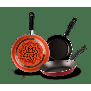 3 Pack de Sartenes Ekco Ethnic de Aluminio Color Naranja con Duraflon® de Alto Rendimiento
