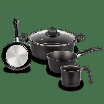 Batería de Cocina Casamoda de 5 Piezas de Aluminio Color Negro con Duraflon® de Alto Rendimiento