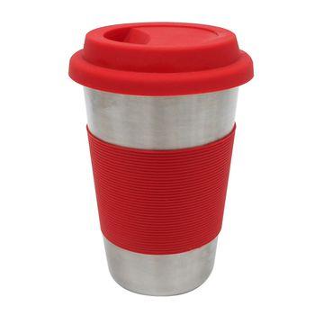 Mug de 450ml Ekco hecho de Acero Inoxidable con Funda de Silicón Rojo