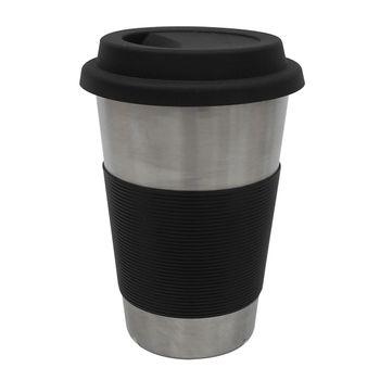 Mug de 450ml Ekco hecho de Acero Inoxidable con Funda de Silicón Negro