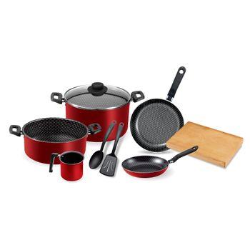 Batería de cocina 9 piezas classic roja