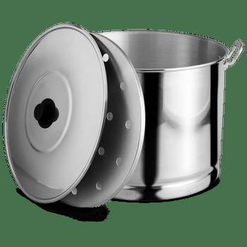 Vaporera de 45 cm con Tapa para 47L. Vasconia Básicos de Aluminio Plateado Pulido de Alta durabilidad