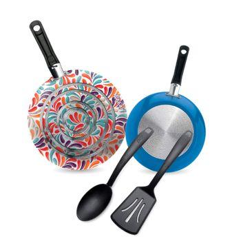 2 Pack de cocina y utensilios 20/24 Corola color Negro con Antiadherente Duraflon®