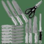 Juego-de-cuchillos-y-auxiliares-con-base-negra-Farberware-de-15-Piezas-de-Acero-inoxidable-Color-Rojo-tienda-en-linea-La-Vasconia