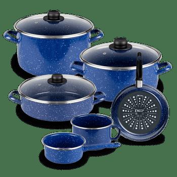 Batería de Cocina Victoria Ekco Acero esmaltado de 9 Piezas color Azul Claro de Brillo perdurable