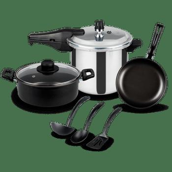 Set de cocción Verano con Olla Express® Ekco Classic de 5 Piezas de Aluminio Plata y Negro con Duraflon®