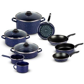 Batería de Cocina Olimpia Ekco Acero esmaltado de 12 Piezas Color Azul marino con Duraflon® PRO