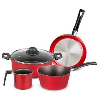 Batería de Cocina Casamoda de 5 Piezas de Aluminio Color Rojo con Duraflon® de Alto Rendimiento
