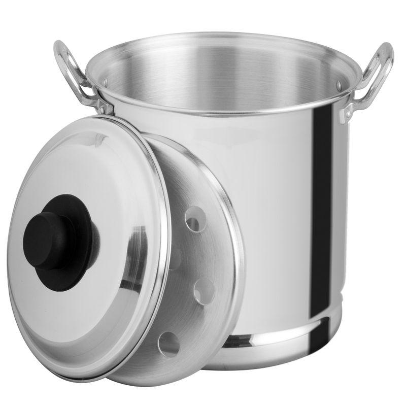 Vaporera-de-22-cm.-Vasconia-Basicos-de-3-Piezas-de-Aluminio-Plateado-Pulido-con-Tapa-de-Aluminio-y-Alta-durabilidad-tienda-en-linea-La-Vasconia