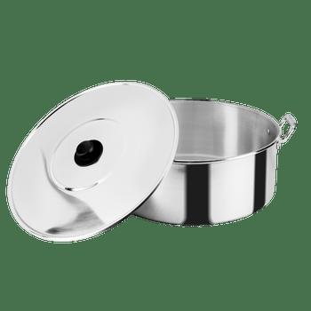 Arrocera de 45 cm. Vasconia Pro de 2 Piezas de Aluminio Color Plateado Pulido con Tapa de Aluminio y Alta durabilidad